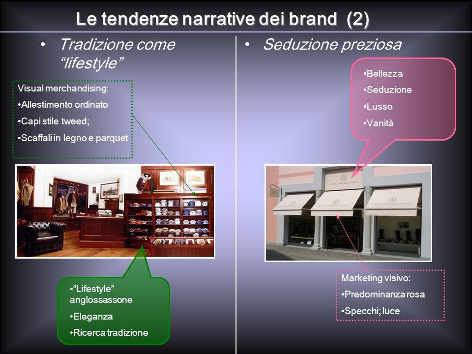 Tradizione come lifestyle Seduzione preziosa Le tendenze narrative dei brand (2) Visual merchandising: Allestimento ordinato Capi stile tweed; Scaffal