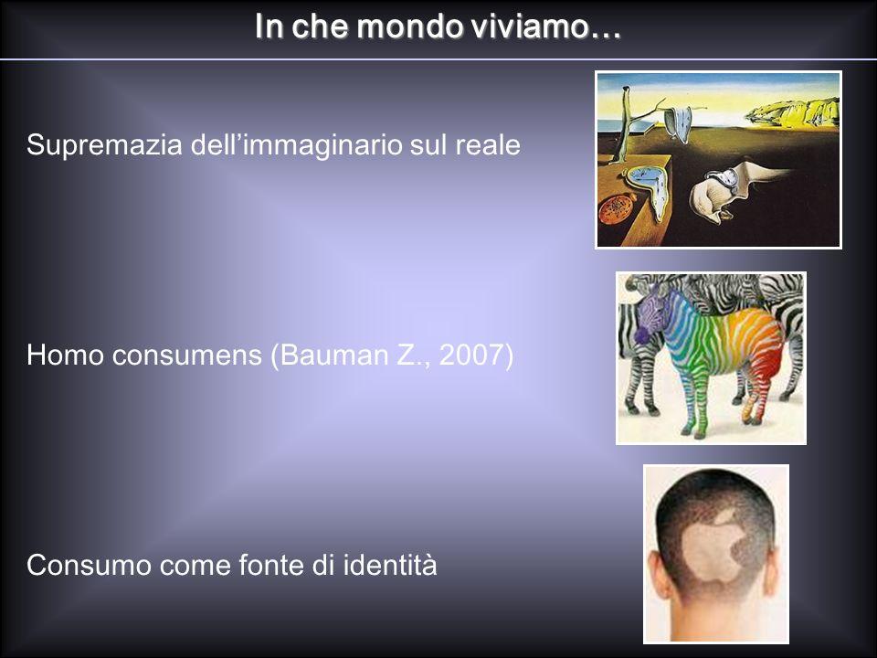 In che mondo viviamo… Supremazia dellimmaginario sul reale Homo consumens (Bauman Z., 2007) Consumo come fonte di identità