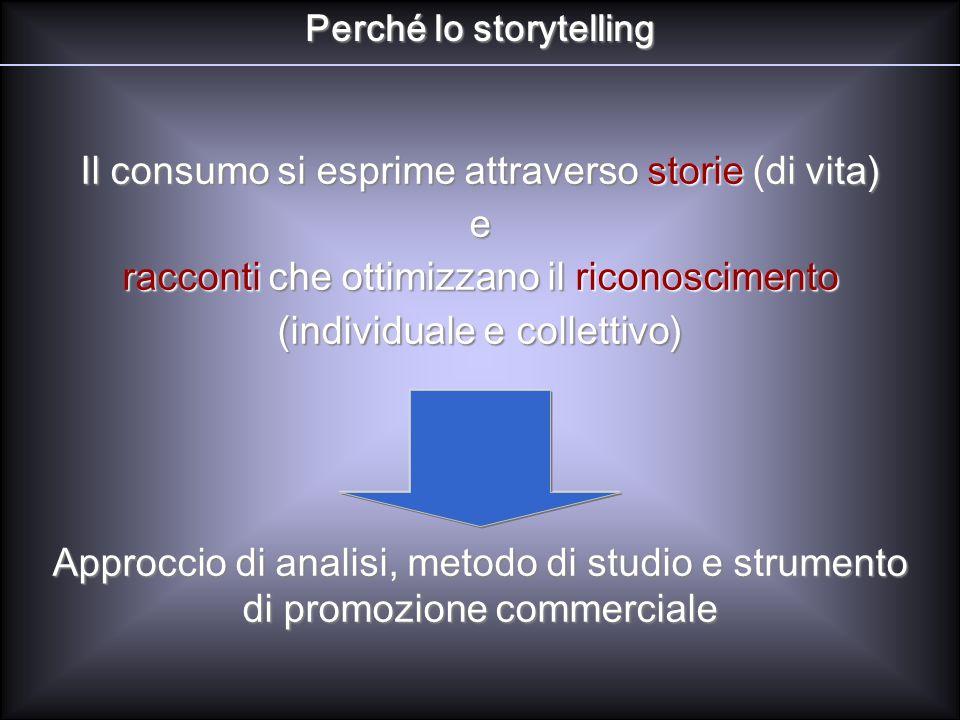 Perché lo storytelling Il consumo si esprime attraverso storie (di vita) e racconti che ottimizzano il riconoscimento (individuale e collettivo) Appro