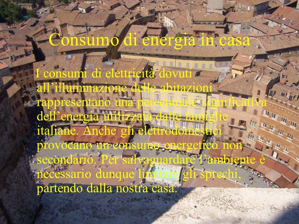 Consumo di energia in casa I consumi di elettricità dovuti allilluminazione delle abitazioni rappresentano una percentuale significativa dellenergia u