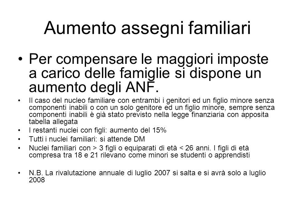 Aumento assegni familiari Per compensare le maggiori imposte a carico delle famiglie si dispone un aumento degli ANF.
