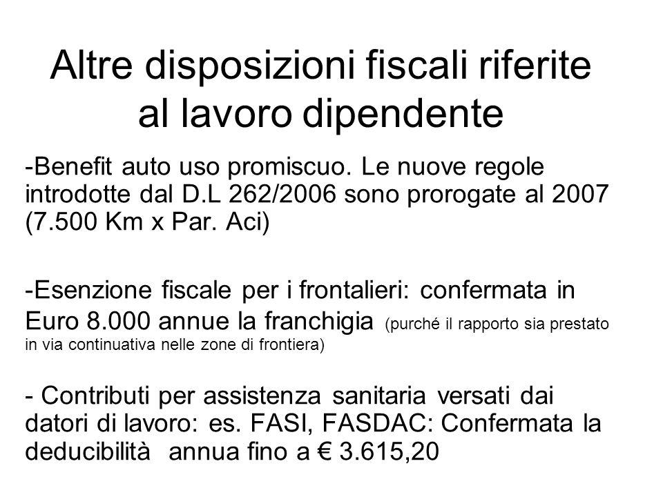 Altre disposizioni fiscali riferite al lavoro dipendente -Benefit auto uso promiscuo.