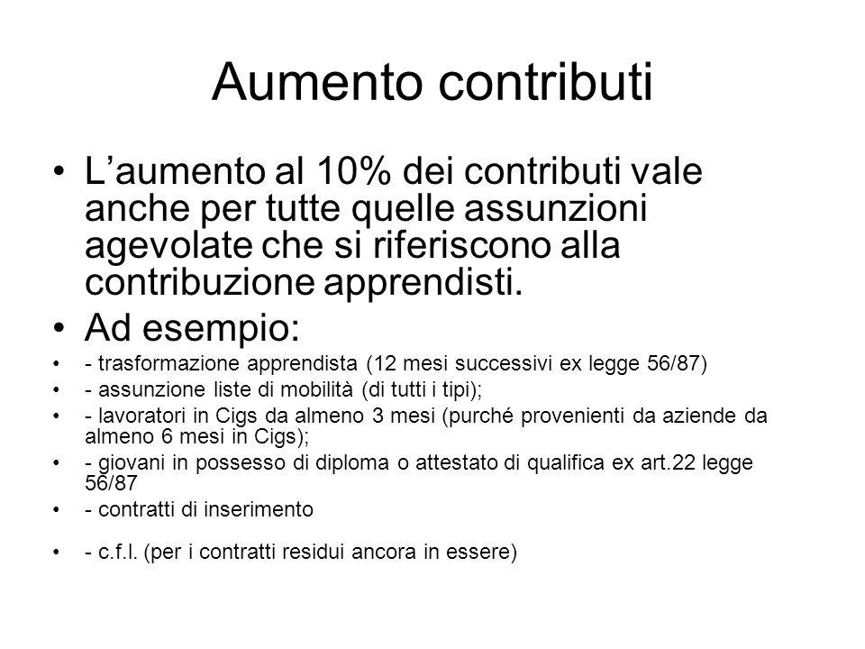 Aumento contributi Laumento al 10% dei contributi vale anche per tutte quelle assunzioni agevolate che si riferiscono alla contribuzione apprendisti.