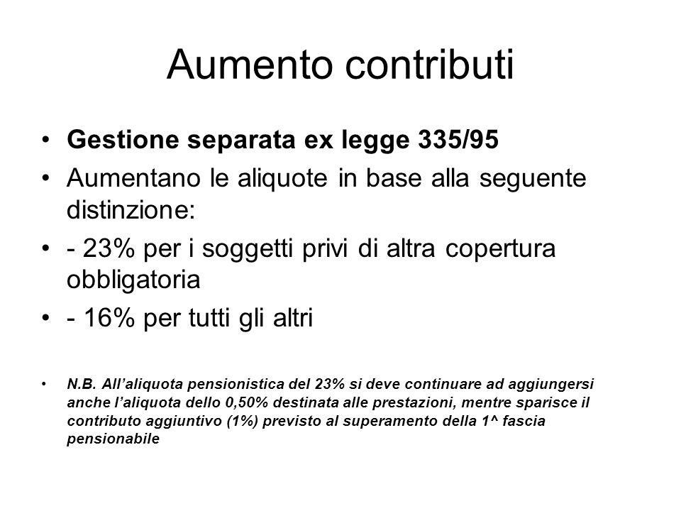 Aumento contributi Gestione separata ex legge 335/95 Aumentano le aliquote in base alla seguente distinzione: - 23% per i soggetti privi di altra copertura obbligatoria - 16% per tutti gli altri N.B.