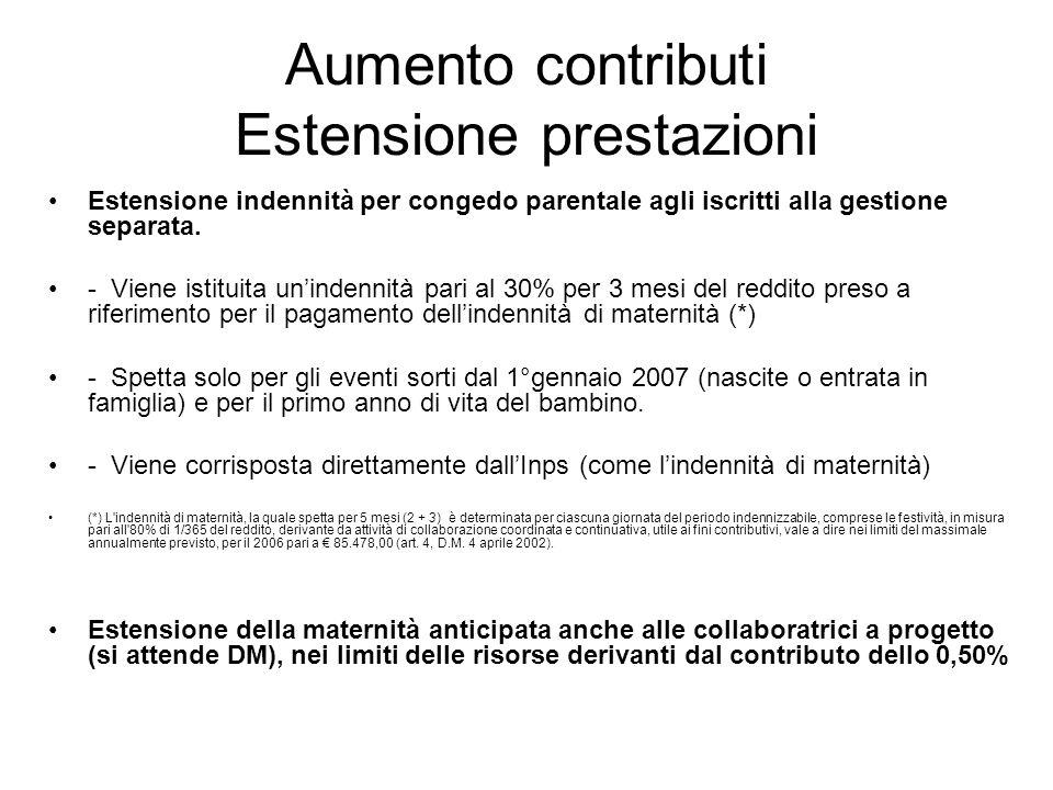 Aumento contributi Estensione prestazioni Estensione indennità per congedo parentale agli iscritti alla gestione separata.