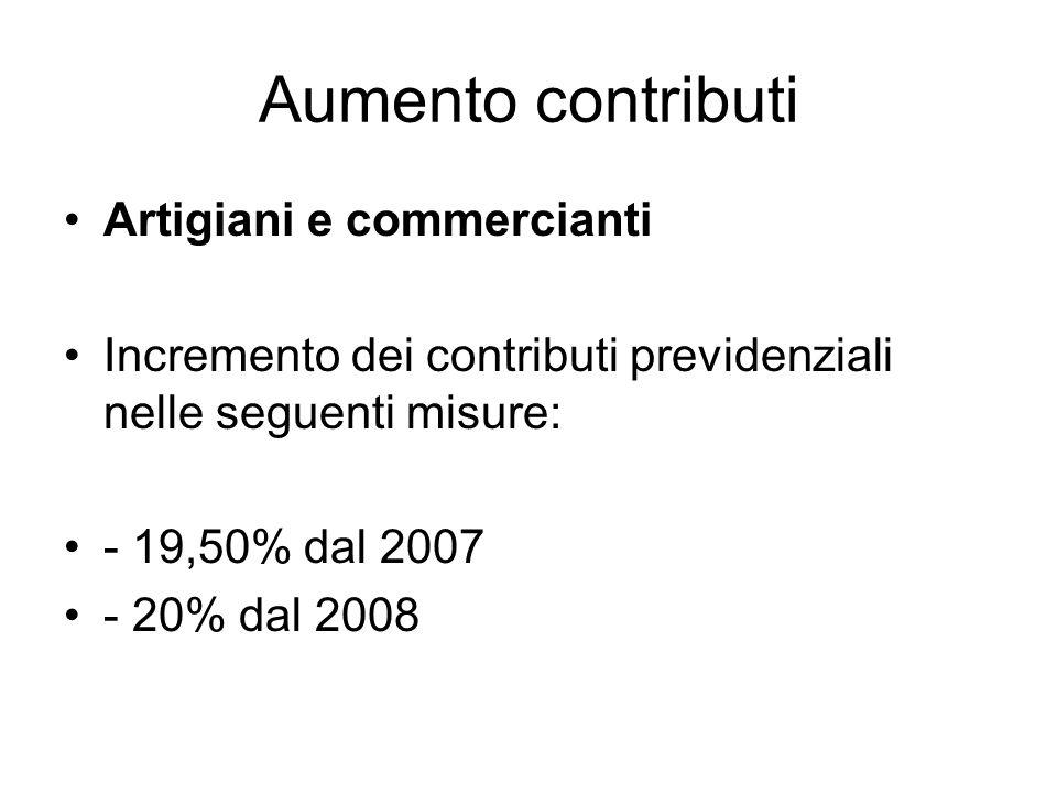 Aumento contributi Artigiani e commercianti Incremento dei contributi previdenziali nelle seguenti misure: - 19,50% dal 2007 - 20% dal 2008