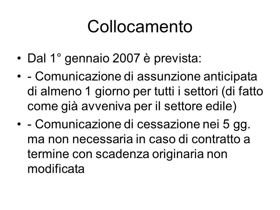 Collocamento Dal 1° gennaio 2007 è prevista: - Comunicazione di assunzione anticipata di almeno 1 giorno per tutti i settori (di fatto come già avveniva per il settore edile) - Comunicazione di cessazione nei 5 gg.
