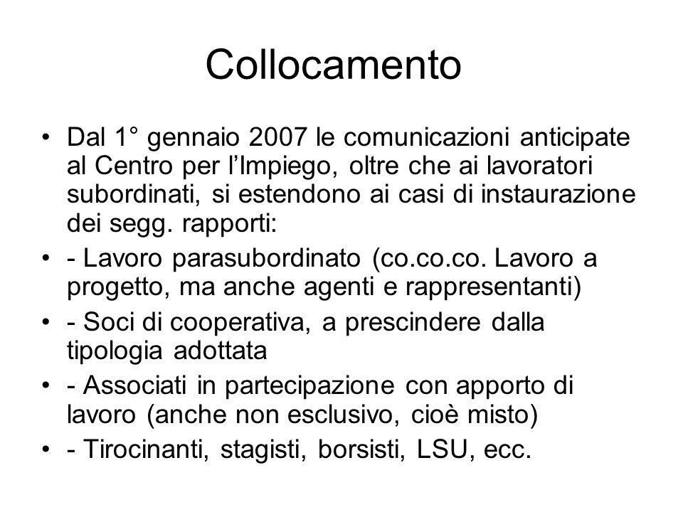 Collocamento Dal 1° gennaio 2007 le comunicazioni anticipate al Centro per lImpiego, oltre che ai lavoratori subordinati, si estendono ai casi di instaurazione dei segg.