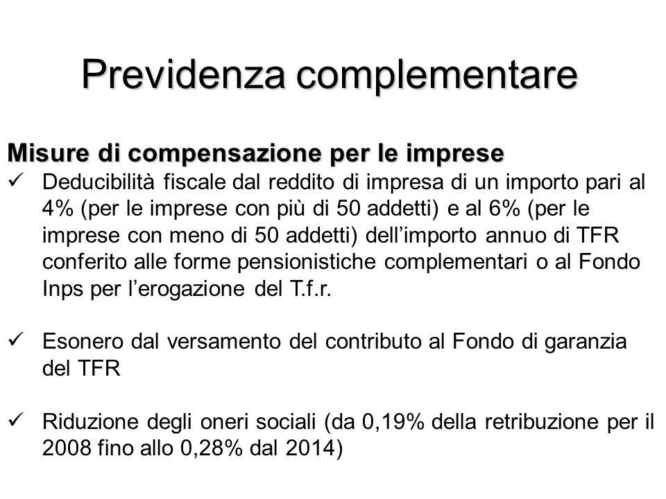 Previdenza complementare Misure di compensazione per le imprese Deducibilità fiscale dal reddito di impresa di un importo pari al 4% (per le imprese con più di 50 addetti) e al 6% (per le imprese con meno di 50 addetti) dellimporto annuo di TFR conferito alle forme pensionistiche complementari o al Fondo Inps per lerogazione del T.f.r.