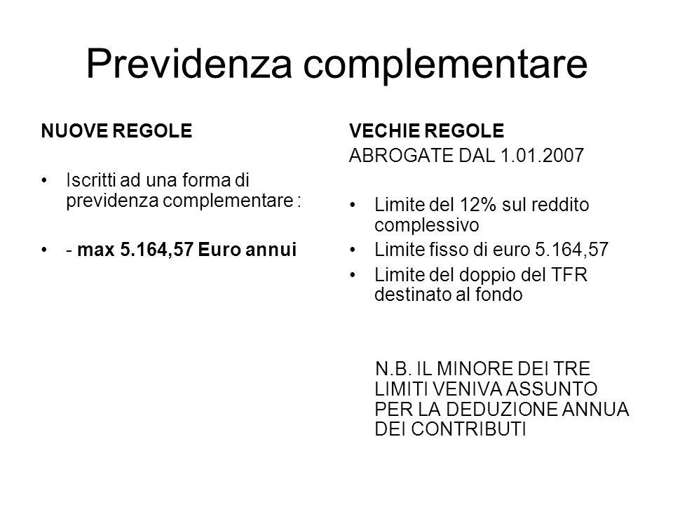 Previdenza complementare NUOVE REGOLE Iscritti ad una forma di previdenza complementare : - max 5.164,57 Euro annui VECHIE REGOLE ABROGATE DAL 1.01.2007 Limite del 12% sul reddito complessivo Limite fisso di euro 5.164,57 Limite del doppio del TFR destinato al fondo N.B.