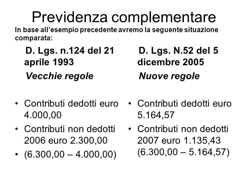 Previdenza complementare In base allesempio precedente avremo la seguente situazione comparata: D.
