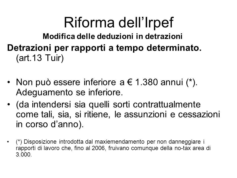 Riforma dellIrpef Modifica delle deduzioni in detrazioni Pensionati < 75 anni Scaglioni di reddito Detrazione annuale in euro Reddito complessivo (RC) fino a 7.500 1.725 RC > 7.500 e fino a 15.000 1.255 + (470 * (15.000 – RC) / 7.000 RC > 15.000 e fino a 55.000 1.255 * (55.000 - RC) / 40.000 RC > 55.000 Non spetta