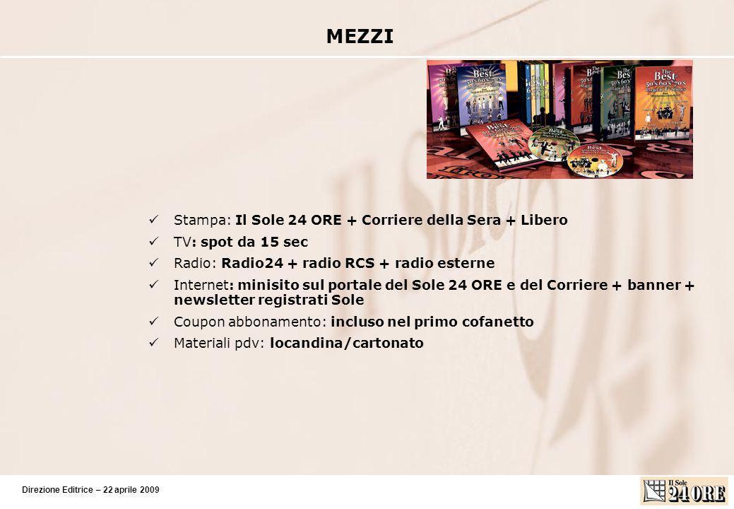 Direzione Editrice – 22 aprile 2009 Numero uscite: 12 Timing: dal 20 maggio 2009 Pezzo prima uscita: cut price 2,90 Prezzo uscite successive: 12,90 in