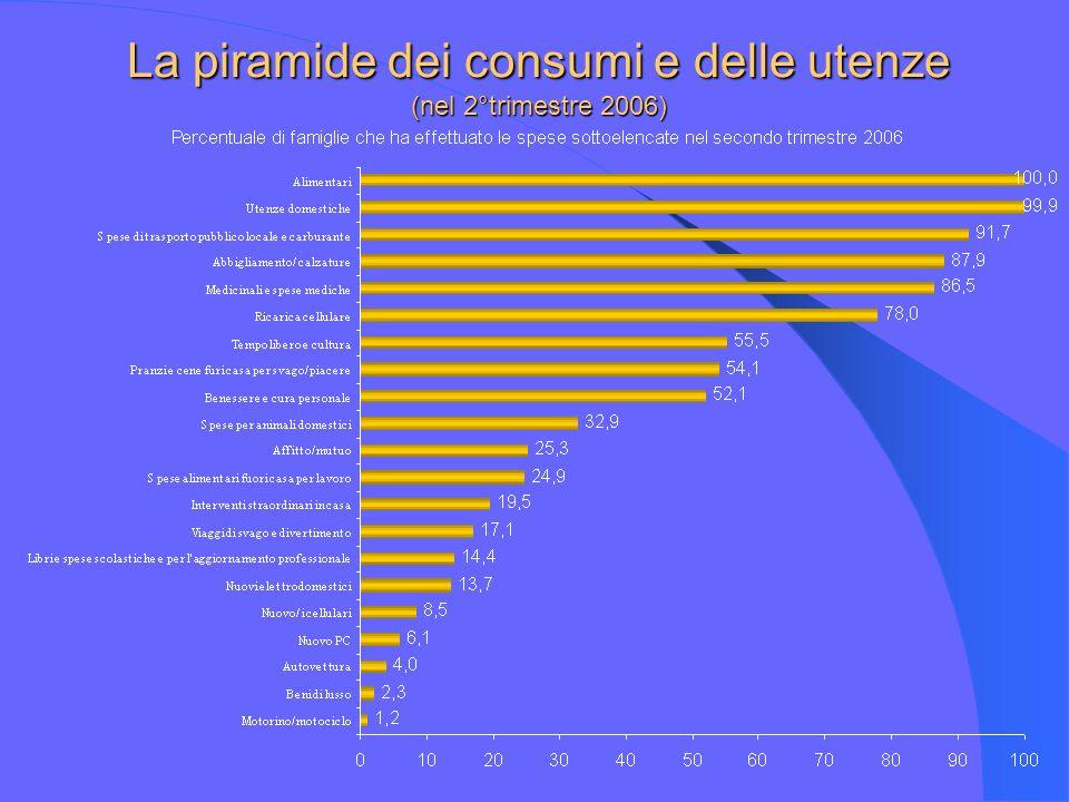 La piramide dei consumi e delle utenze (nel 2°trimestre 2006)