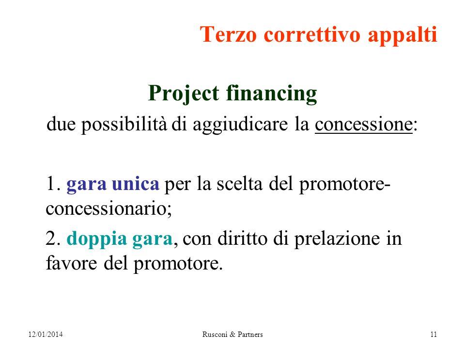 12/01/2014Rusconi & Partners11 Terzo correttivo appalti Project financing due possibilità di aggiudicare la concessione: 1.