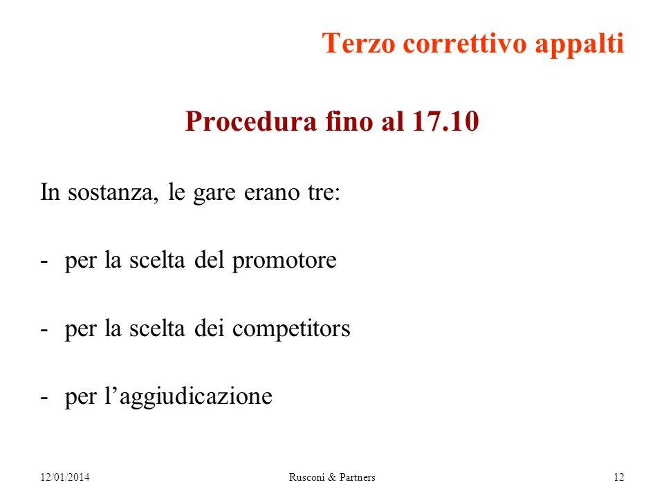 12/01/2014Rusconi & Partners12 Terzo correttivo appalti Procedura fino al 17.10 In sostanza, le gare erano tre: -per la scelta del promotore -per la scelta dei competitors -per laggiudicazione
