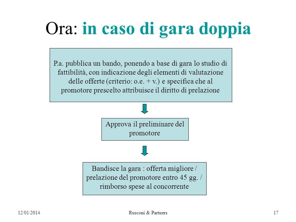 12/01/2014Rusconi & Partners17 Ora: in caso di gara doppia P.a.