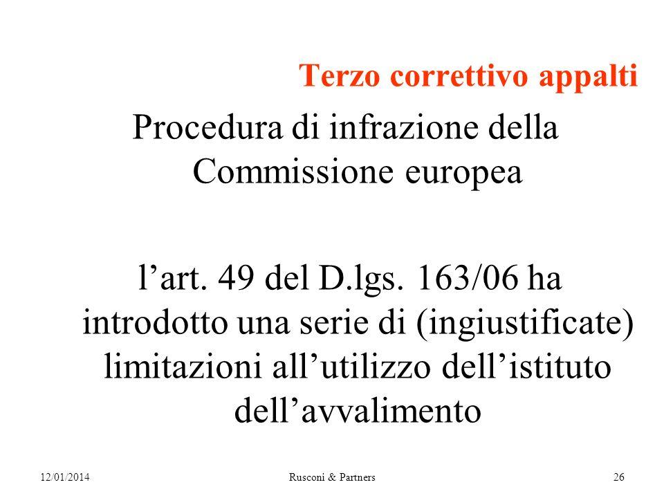 Terzo correttivo appalti Procedura di infrazione della Commissione europea lart.