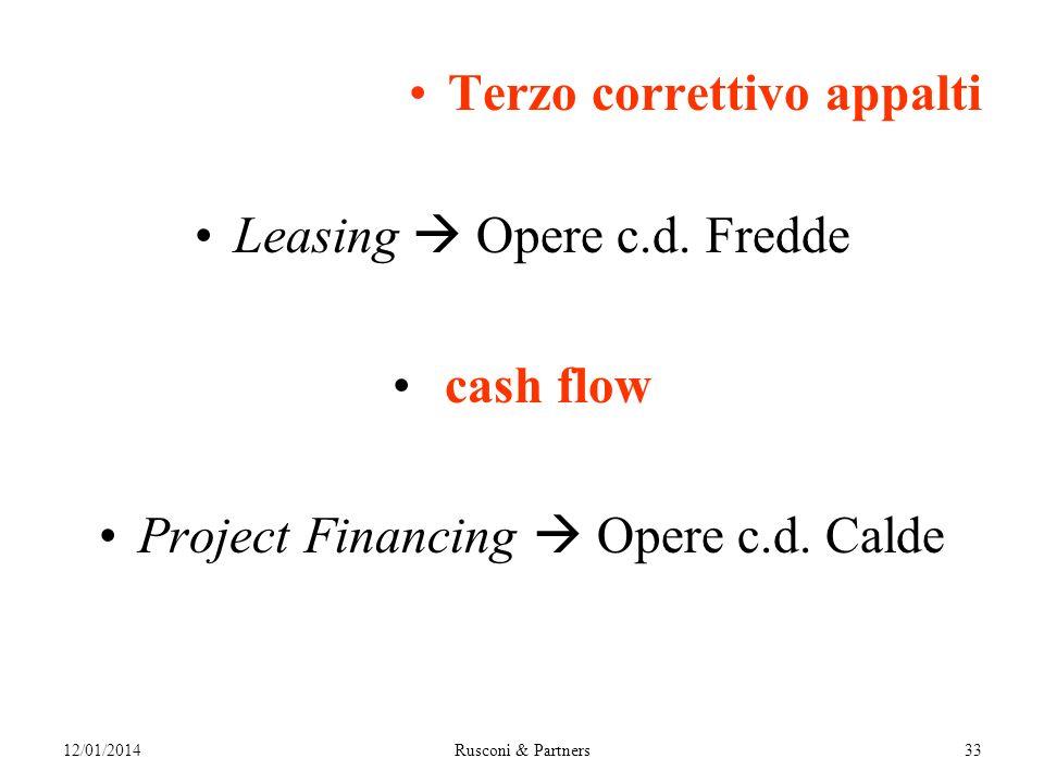 Terzo correttivo appalti Leasing Opere c.d. Fredde cash flow Project Financing Opere c.d.