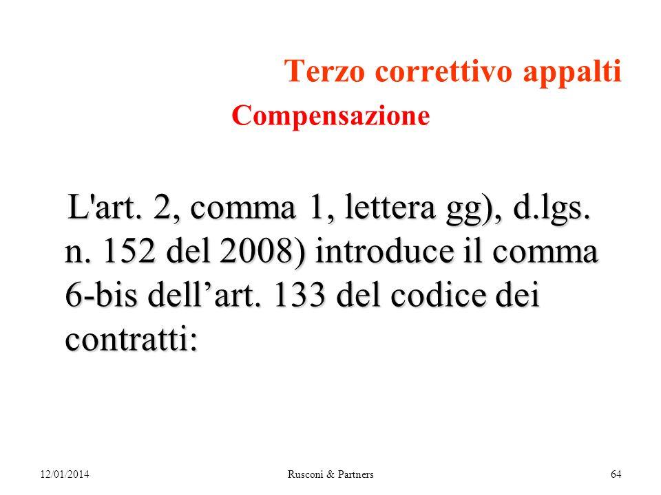 Terzo correttivo appalti Compensazione L art. 2, comma 1, lettera gg), d.lgs.