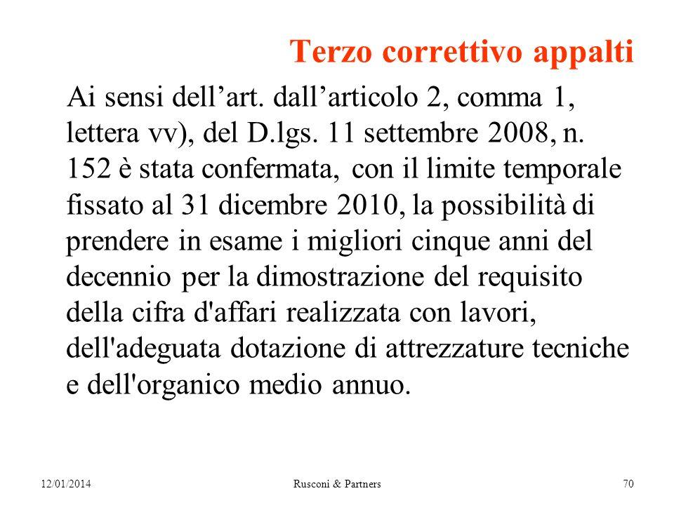 Terzo correttivo appalti Ai sensi dellart. dallarticolo 2, comma 1, lettera vv), del D.lgs.