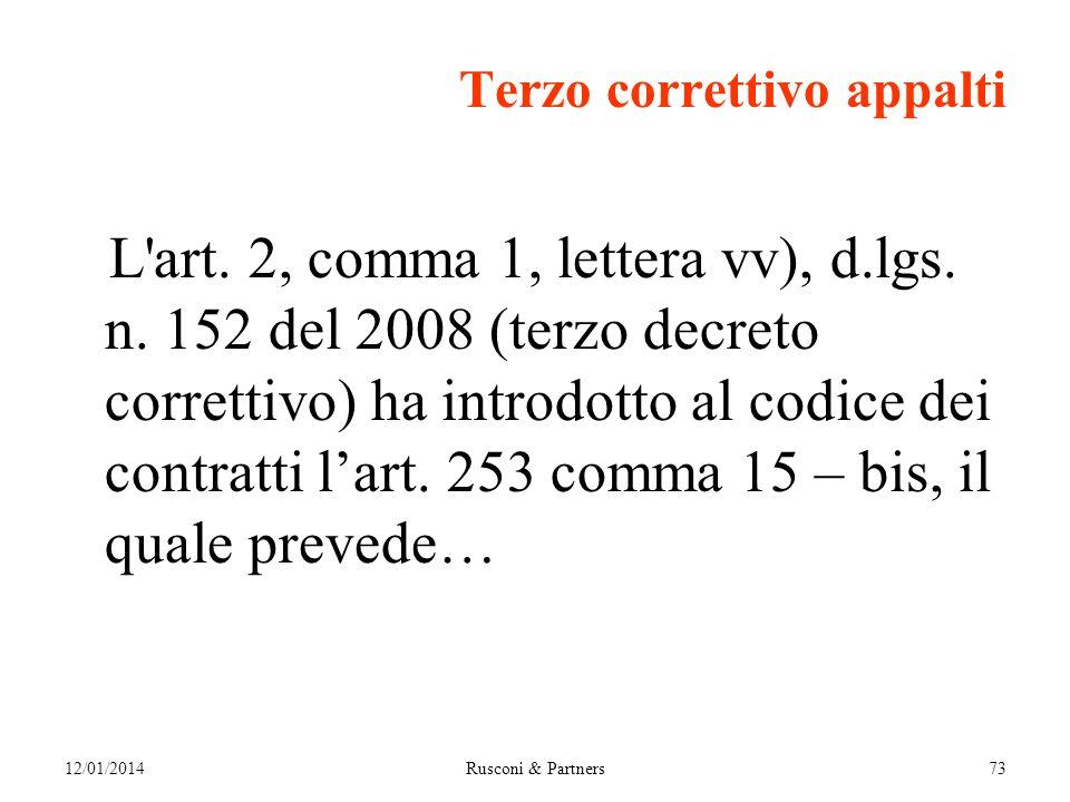 Terzo correttivo appalti L art. 2, comma 1, lettera vv), d.lgs.