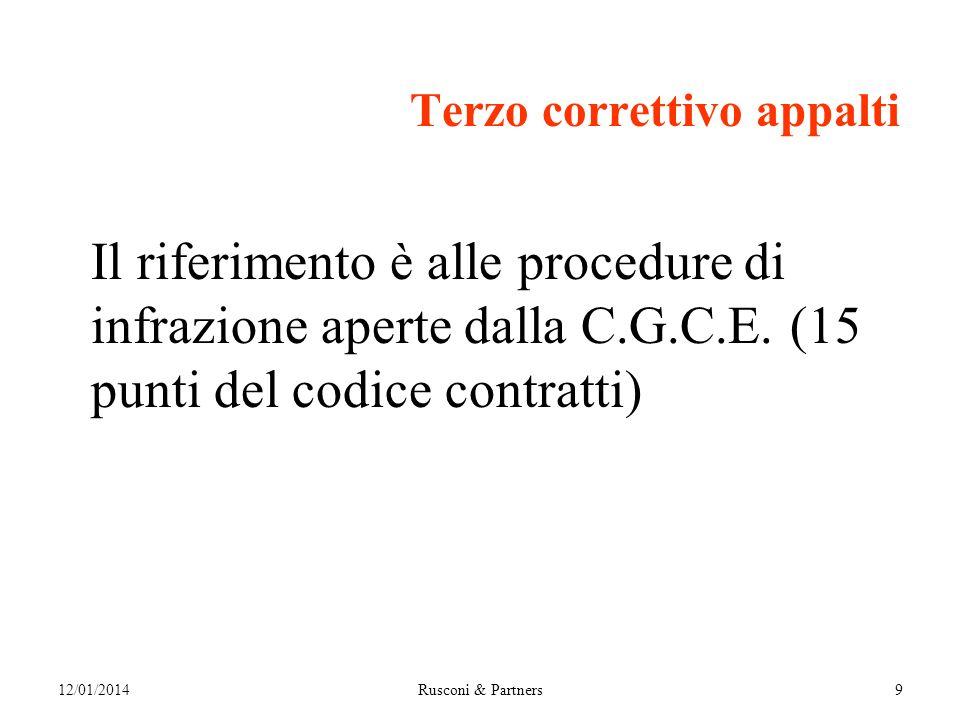Terzo correttivo appalti Il riferimento è alle procedure di infrazione aperte dalla C.G.C.E.