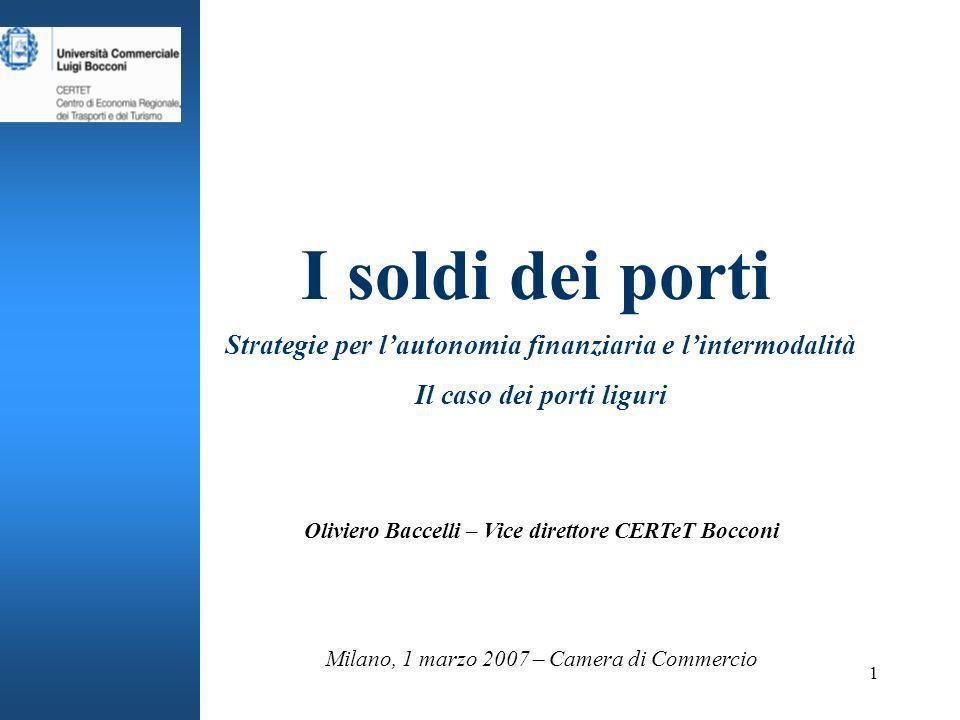 1 I soldi dei porti Strategie per lautonomia finanziaria e lintermodalità Il caso dei porti liguri Milano, 1 marzo 2007 – Camera di Commercio Oliviero