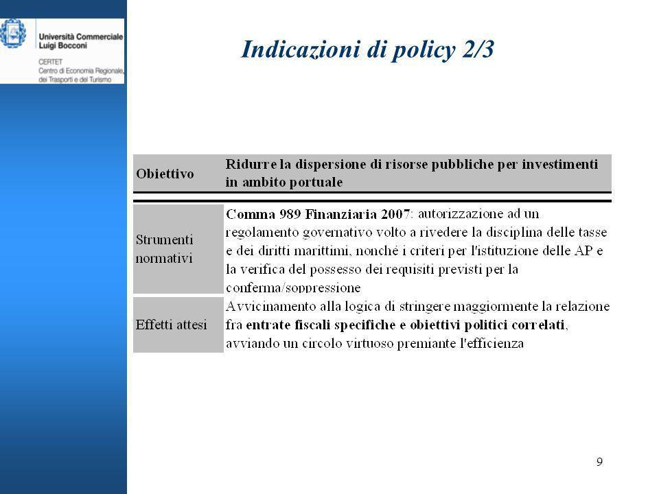 9 Indicazioni di policy 2/3