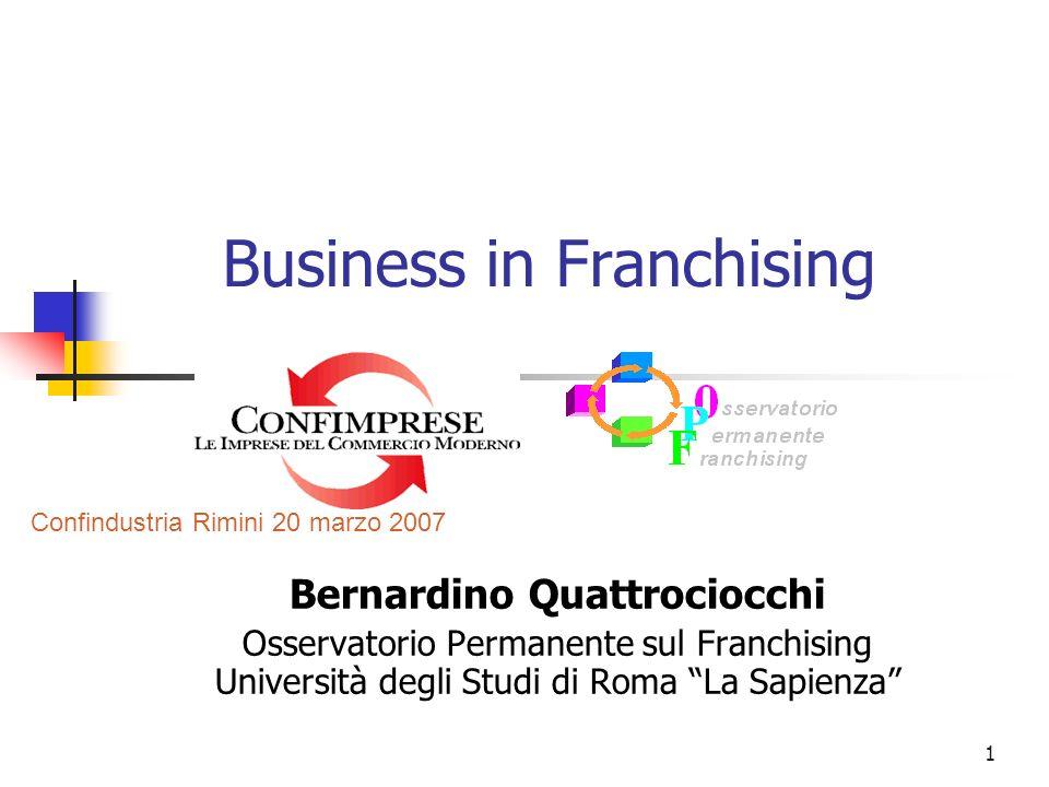 1 Business in Franchising Bernardino Quattrociocchi Osservatorio Permanente sul Franchising Università degli Studi di Roma La Sapienza Confindustria R