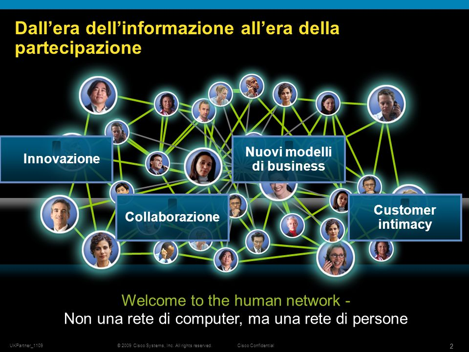 © 2009 Cisco Systems, Inc. All rights reserved.Cisco Confidential UKPartner_1109 22 Dallera dellinformazione allera della partecipazione Welcome to th