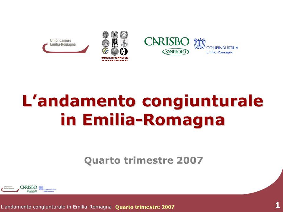 Quarto trimestre 2007 1 Landamento congiunturale in Emilia-Romagna Quarto trimestre 2007
