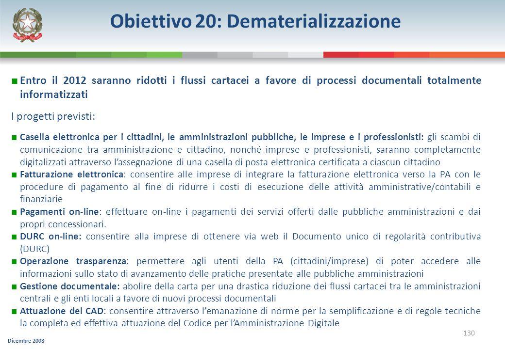 Dicembre 2008 130 Obiettivo 20: Dematerializzazione Entro il 2012 saranno ridotti i flussi cartacei a favore di processi documentali totalmente inform