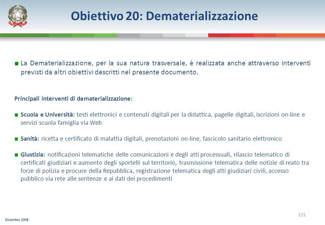 Dicembre 2008 131 Obiettivo 20: Dematerializzazione La Dematerializzazione, per la sua natura trasversale, è realizzata anche attraverso interventi pr