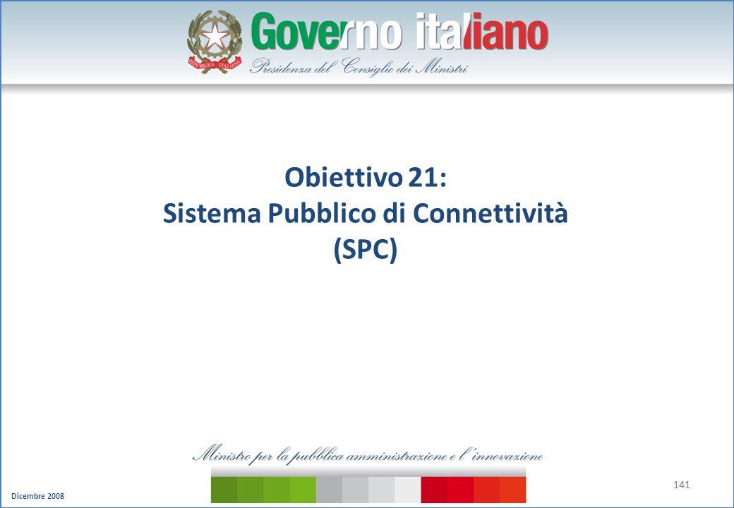 Dicembre 2008 141 Obiettivo 21: Sistema Pubblico di Connettività (SPC)