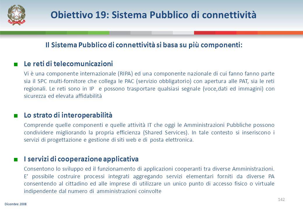 Dicembre 2008 142 Il Sistema Pubblico di connettività si basa su più componenti: Le reti di telecomunicazioni Vi è una componente internazionale (RIPA