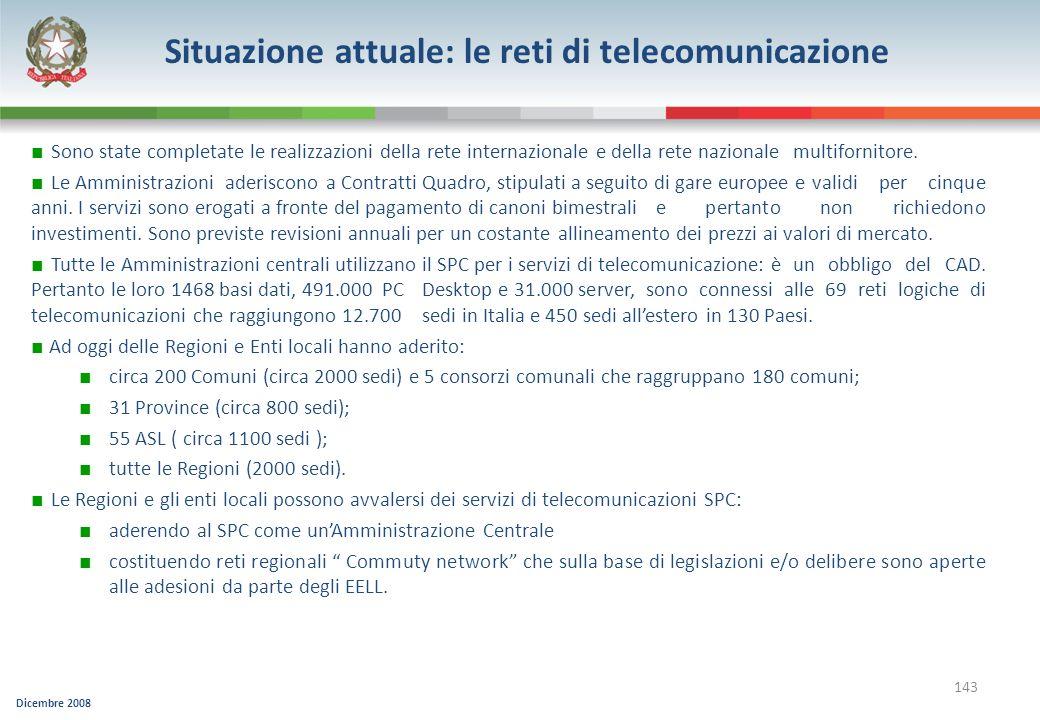 Dicembre 2008 143 Sono state completate le realizzazioni della rete internazionale e della rete nazionale multifornitore. Le Amministrazioni aderiscon