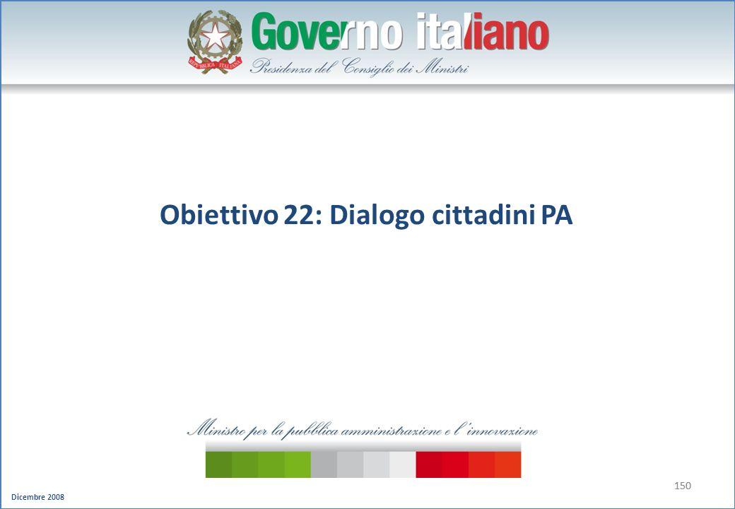 Dicembre 2008 150 Obiettivo 22: Dialogo cittadini PA