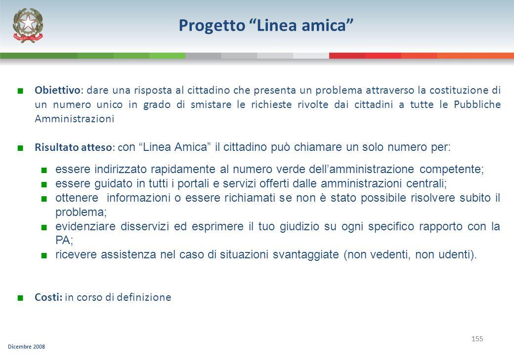 Dicembre 2008 155 Progetto Linea amica Obiettivo: dare una risposta al cittadino che presenta un problema attraverso la costituzione di un numero unic