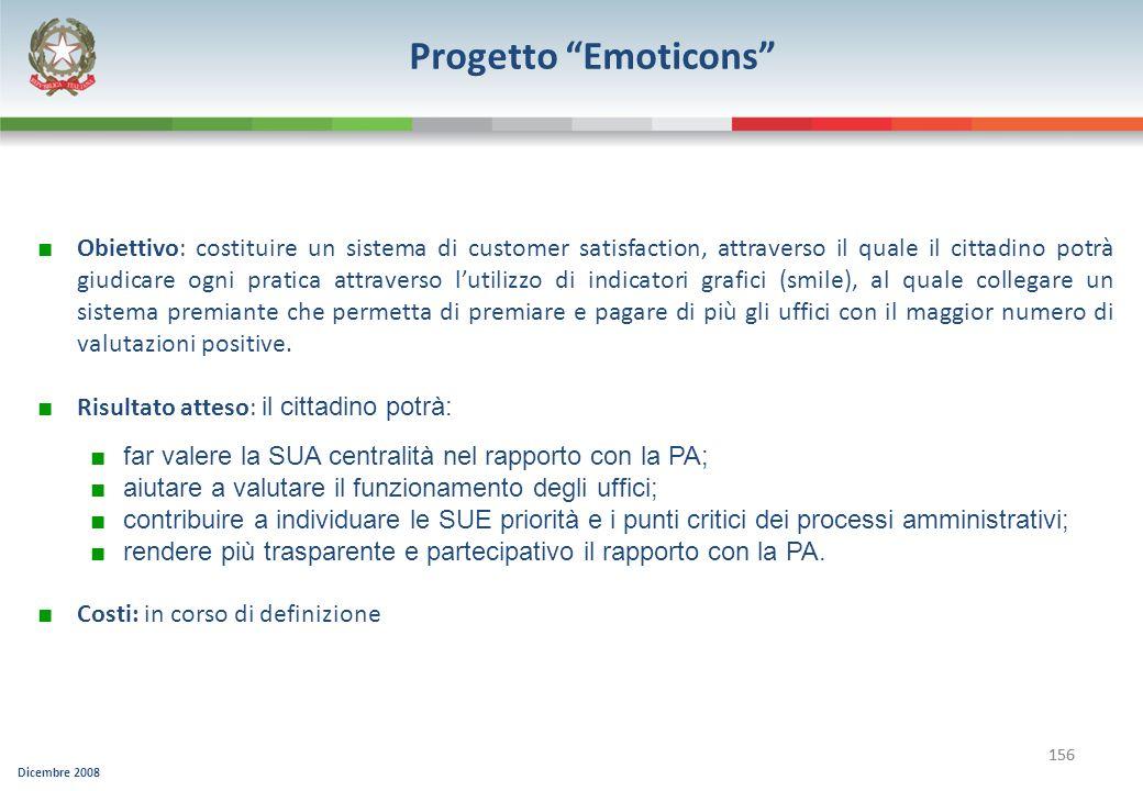 Dicembre 2008 156 Progetto Emoticons Obiettivo: costituire un sistema di customer satisfaction, attraverso il quale il cittadino potrà giudicare ogni