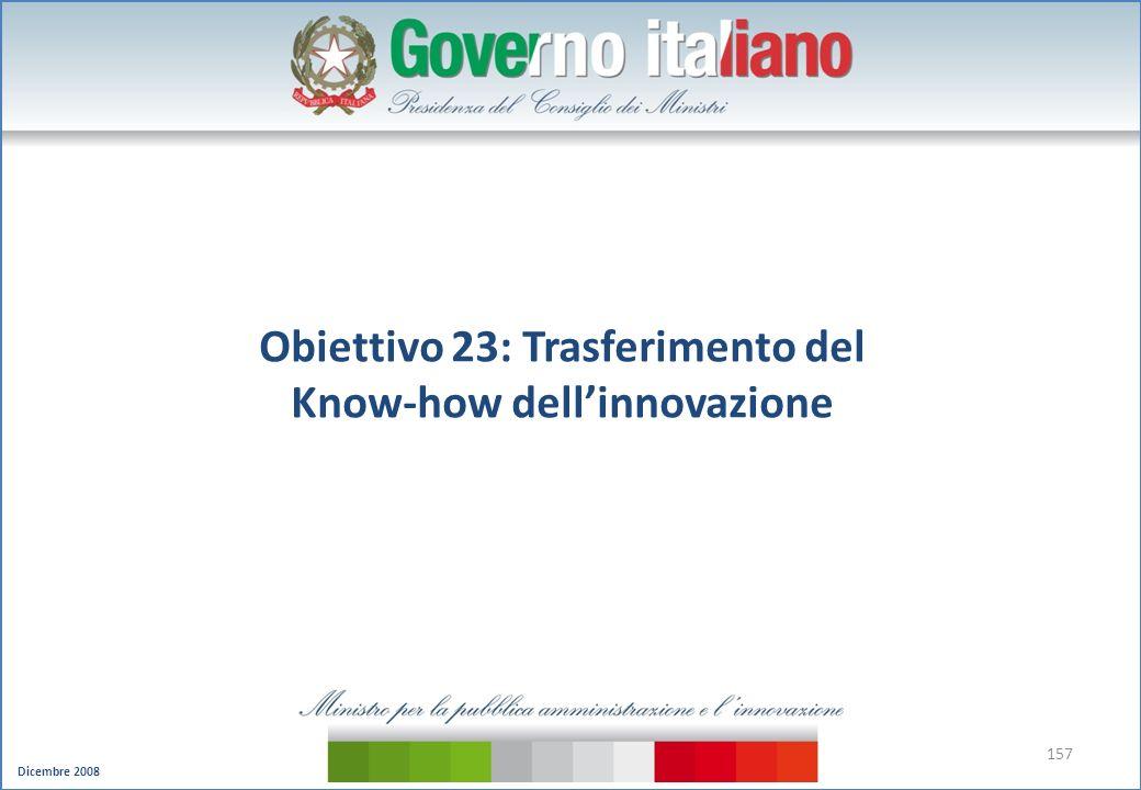 Dicembre 2008 157 Obiettivo 23: Trasferimento del Know-how dellinnovazione