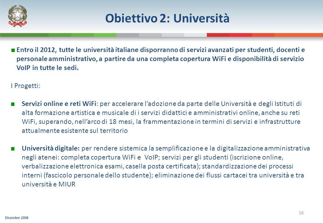 Dicembre 2008 16 Obiettivo 2: Università Servizi online e reti WiFi: per accelerare ladozione da parte delle Università e degli Istituti di alta forma
