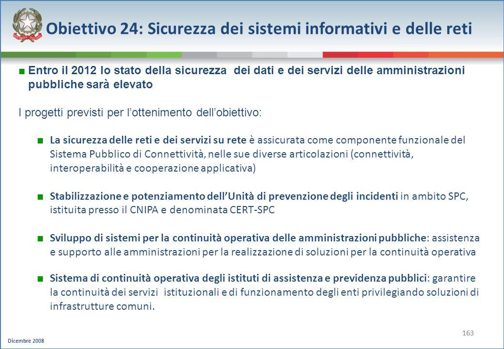 Dicembre 2008 163 Obiettivo 24: Sicurezza dei sistemi informativi e delle reti Entro il 2012 lo stato della sicurezza dei dati e dei servizi delle amm