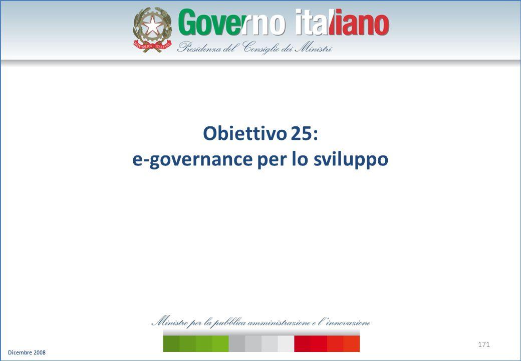 Dicembre 2008 171 Obiettivo 25: e-governance per lo sviluppo