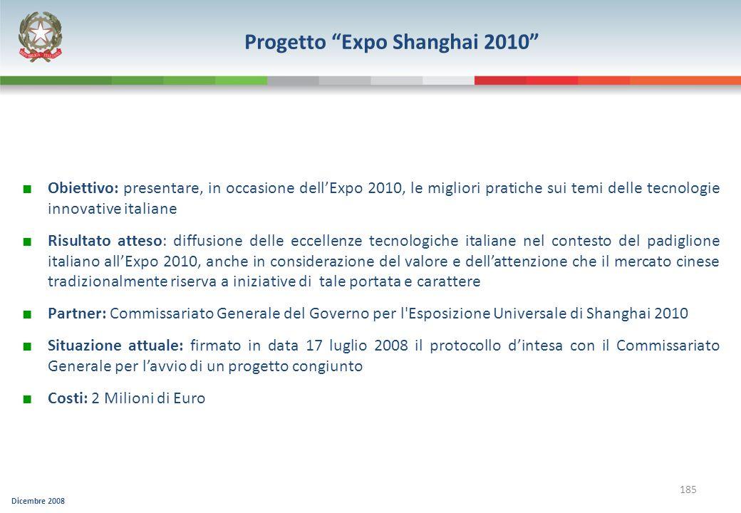 Dicembre 2008 185 Progetto Expo Shanghai 2010 Obiettivo: presentare, in occasione dellExpo 2010, le migliori pratiche sui temi delle tecnologie innova