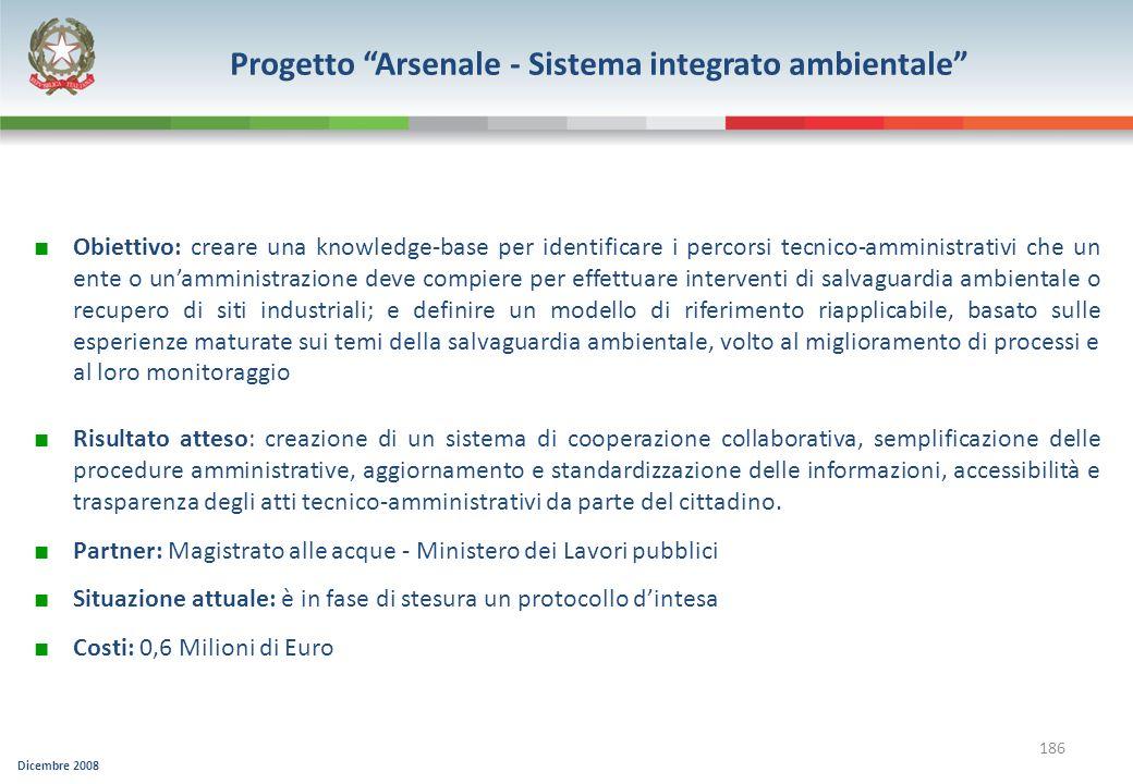 Dicembre 2008 186 Progetto Arsenale - Sistema integrato ambientale Obiettivo: creare una knowledge-base per identificare i percorsi tecnico-amministra