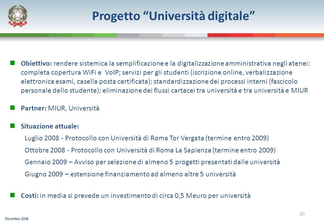 Dicembre 2008 20 Progetto Università digitale Obiettivo: rendere sistemica la semplificazione e la digitalizzazione amministrativa negli atenei: compl
