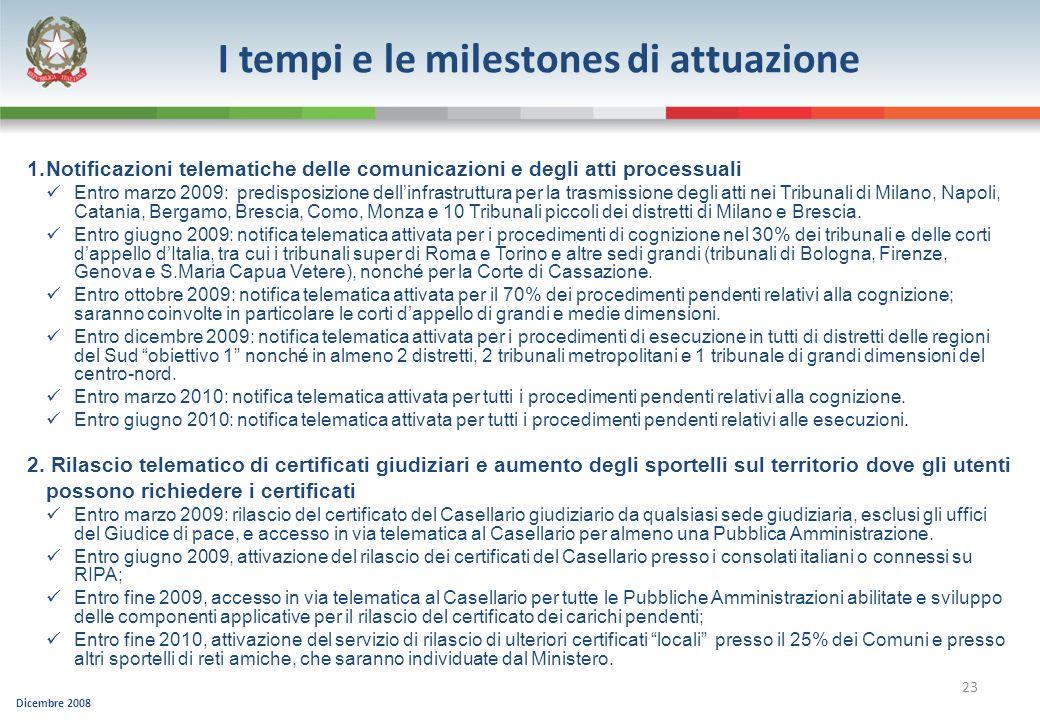 Dicembre 2008 23 I tempi e le milestones di attuazione 1.Notificazioni telematiche delle comunicazioni e degli atti processuali Entro marzo 2009: pred