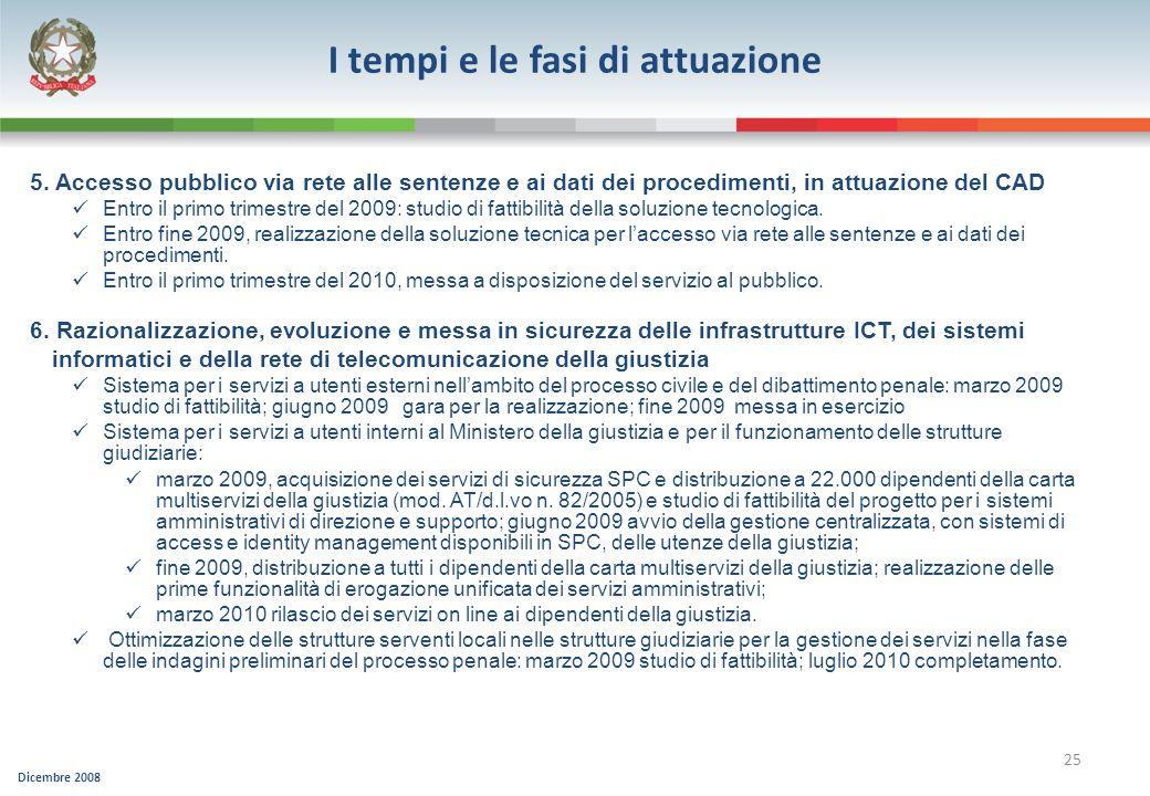 Dicembre 2008 25 5. Accesso pubblico via rete alle sentenze e ai dati dei procedimenti, in attuazione del CAD Entro il primo trimestre del 2009: studi