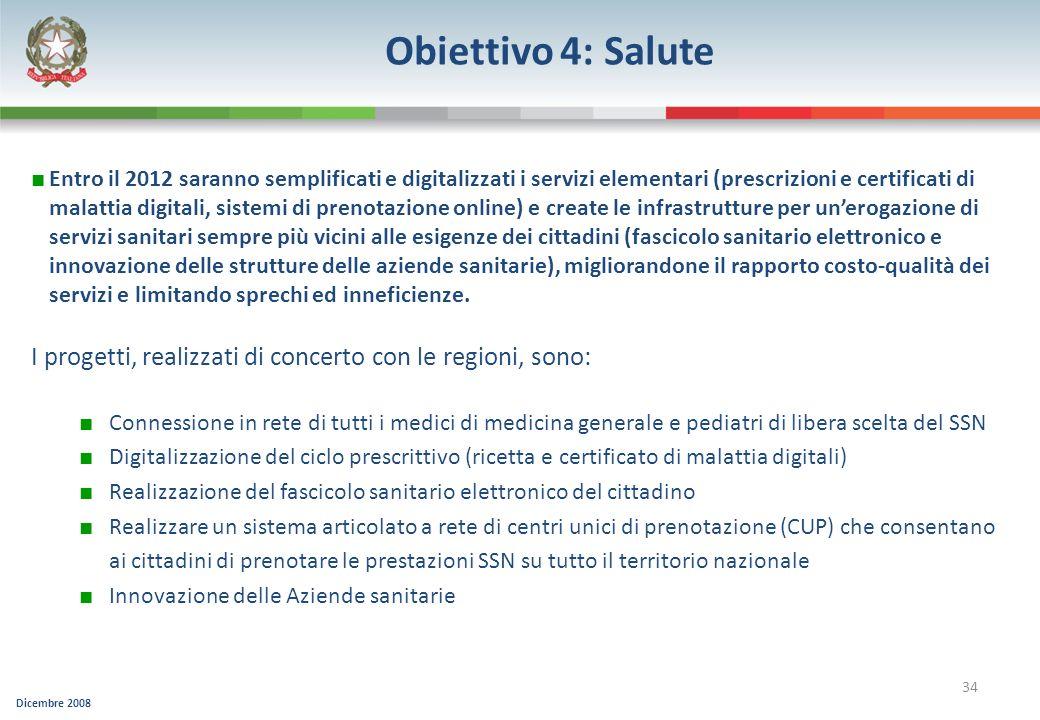 Dicembre 2008 34 Obiettivo 4: Salute Entro il 2012 saranno semplificati e digitalizzati i servizi elementari (prescrizioni e certificati di malattia d